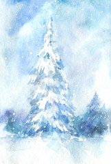 Landscape of a spruce and snow.Winter.Watercolor hand drawn illustration.