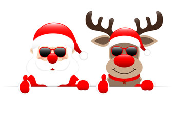 Santa & Rudolph Sunglasses Thumb Up Banner