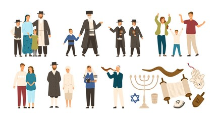 Collection of jews and Jewish or Hebrew symbols. Couple, happy family, boys reading Torah and playing Shofar. Cute cartoon characters isolated on white background. Vector illustration in flat style.