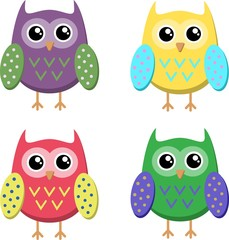 Cute cartoon owls icons, bright owls illustration.