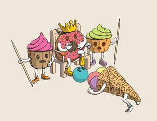 Funny Donut King, Cupcakes Guards Characters Scared by Cone Ice Cream's Fallen Head. Vector Illustration.