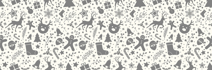 Seamless texture with Christmas decorations. Vector.