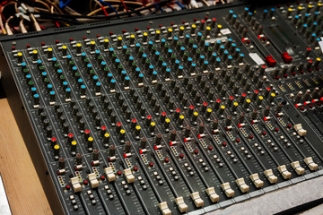 control panel of professional music equipment