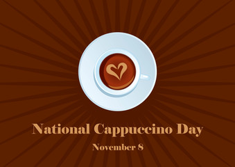 National Cappuccino Day vector. Cup of cappuccino on a brown background. American holiday in November. Important day