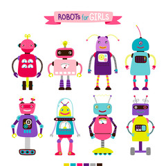 Cute cartoon robots set for girls, isolated on white background, vector illustration