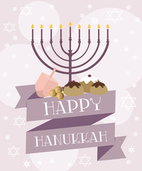 Happy Hanukkah greeting card with candle and decor. Editable vector illustration