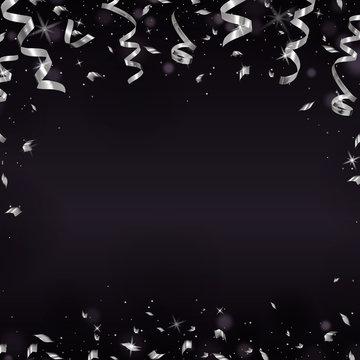 Falling silver serpentine on dark. Shine ribbon and confetti, glitter, stars. Holiday design
