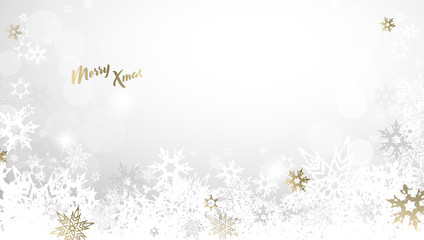 Christmas light vector background illustration with snowflakes and golden Merry Xmas text