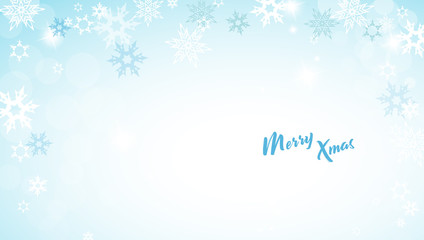 Christmas blue vector background illustration with snowflakes and Merry Christmas text