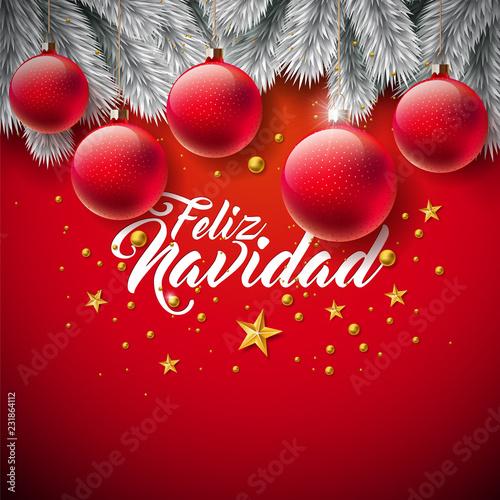 Vector Christmas Illustration With Spanish Feliz Navidad Typography
