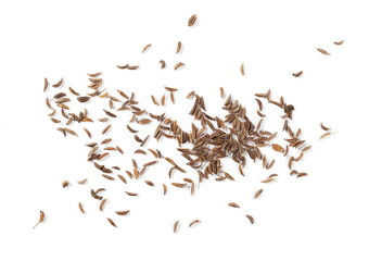 Fototapeta Pile of cumin, caraway seeds isolated on white background, top view obraz