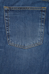 denium blue jean pocket shot up close