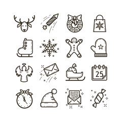 set of line art black and white vector icons on the theme of Christmas holidays
