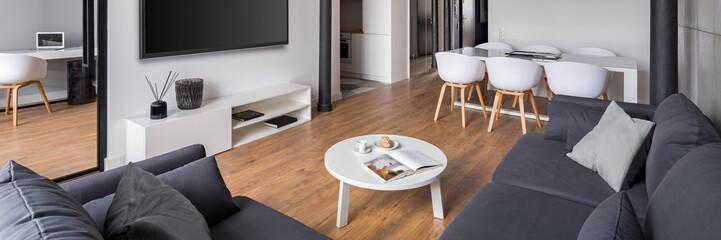 Obraz Living room with corner sofa - fototapety do salonu