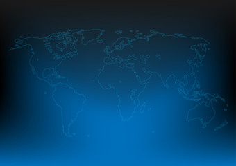 Abstract world map dark blue color, Design for sci-fi space background .