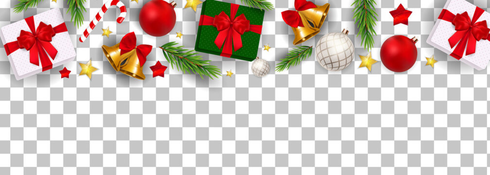 Abstract Holiday New Year and Merry Christmas Border on Transparent Background Vector Illustration