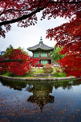 Wall Mural - Autumn in South Korean - view of pavilion in Gyeongbokgung Palace.