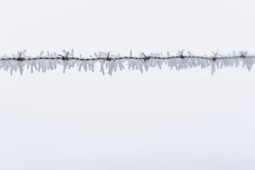 Stacheldraht im Winternebel mit Raureif