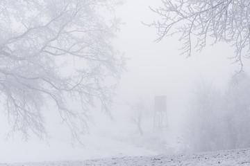 Hochsitz im Winternebel