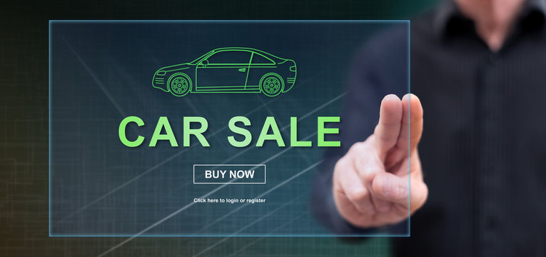 Man touching a car sale concept