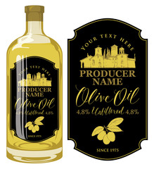 Vector label for unfiltered olive oil with calligraphic handwritten inscription and with rural Italian landscape on the black background in retro style. Template label for olive oil on glass bottle