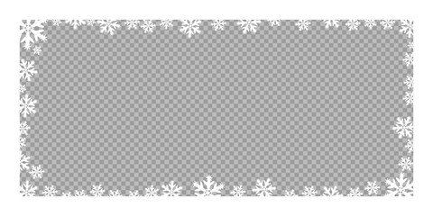 Vector frame Christmas and new year snowflakes. Vector element on a transparent, isolated background.