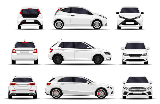 realistic cars set. hatchback. front view, side view, back view.