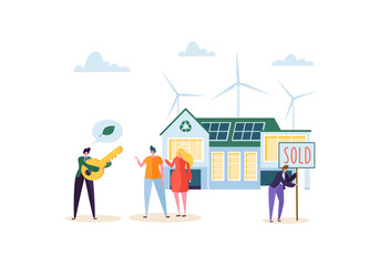 Eco House Concept with Happy People Buying new Home. Real Estate Agent with Clients and Key. Ecology Green Energy, Solar and Wind Power. Vector illustration