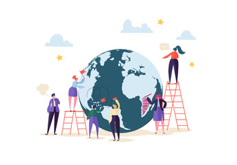 Global Business Concept with Characters Working Together. People Communicating in Work Process. Creative Teamwork Cooperation Worldwide Business. Vector illustration