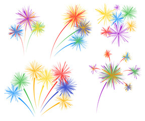 Set fireworks of different kinds. Vector design elements isolated on light background.