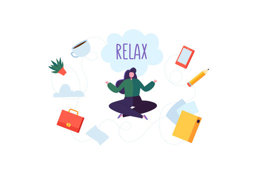 Businesswoman Meditating on Stressful Office Work. Business Character Relaxing on Coffee Break. Meditation Yoga Concept. Vector illustration