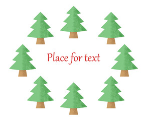 Christmas trees on a white background with a place for your text. Vector illustration.