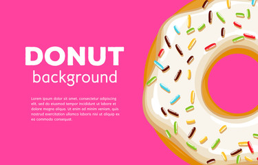 Colorful donut background. Sweet bakery vector.