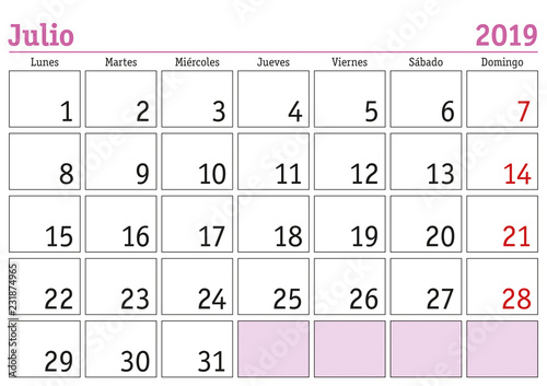 Calendario Julio 2019 Vector.Julio 2019 Wall Calendar Spanish Stock Image And Royalty