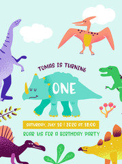 Estores personalizados infantiles con tu foto Happy Birthday card with fun dinosaur, Dino arrival announcement, greetings in Vector illustration