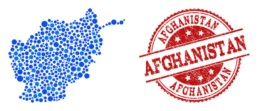 Compositions of blue map of Afghanistan and red grunge stamp seal. Mosaic map of Afghanistan is composed with links between circle dots. Flat design elements for network projects.