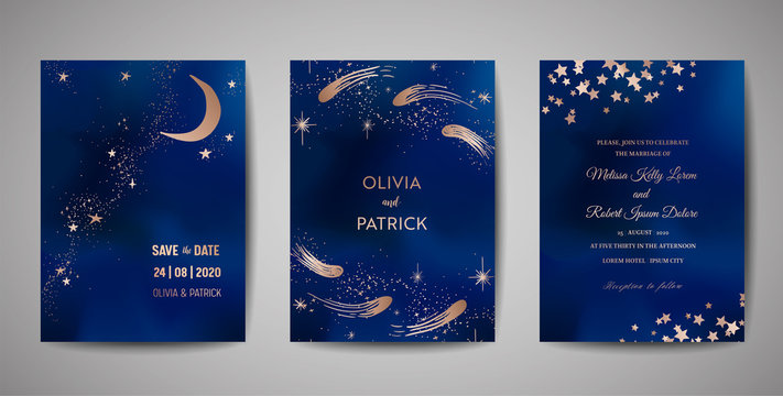 Magic night dark blue sky with sparkling stars vector wedding invitation. Set of Save the Date Cards with gold glitter powder splash background, hand drawn golden dust, midnight milky way, fairytale