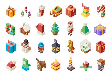 Christmas lowpoly polygonal new year isometric 3d isolated icons set flat cartoon design Vector Illustration