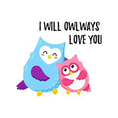 Cute cartoon vector owls. Template for printing. Valentine s Day