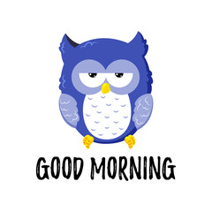 Cute cartoon tired displeased owl. Vector doodle illustration. Template for design, print.