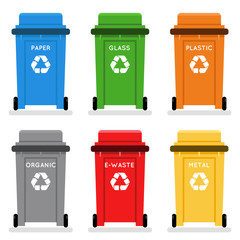 Garbage cans trash separation recycling isolated flat design icons set vector illustration