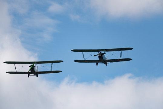 Soviet single-engine biplane Policarpov Po-2 or U-2 at an air show in Mochishche
