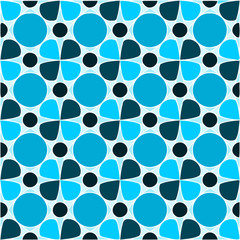 Blue Pattern, Floral, Circles, Seamless Tiles, Shades of Blue