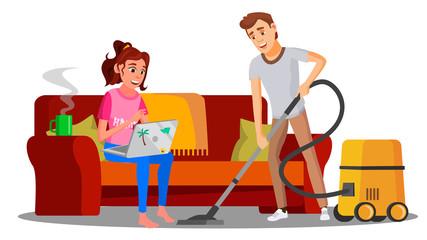 Woman Sitting On Sofa With Book, Man Vacuuming Floor Vector. Illustration