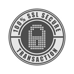 100% SSL secure transaction word and lock symbol on circle badge vector. Minimalist style, simple design, black and gray color.