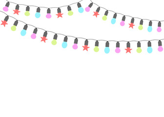 Christmas lights. Garlands isolated on a light background. Place for text. Vector illustration.