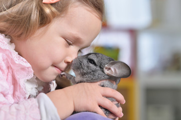 Portrait of a cute girl playing with chinchilla