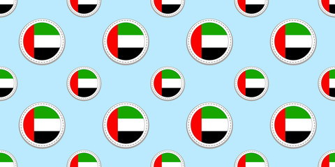 UAE round flag seamless pattern. The United Arab Emirates background. Vector circle icons. Geometric symbols. Texture for sports pages, travelling, design elements. patriotic wallpaper.