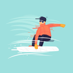 Guy rides a snowboard, winter, sport. Flat design vector illustration