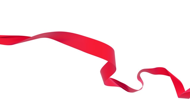 Smooth red ribbon isolated on white background. 3d render